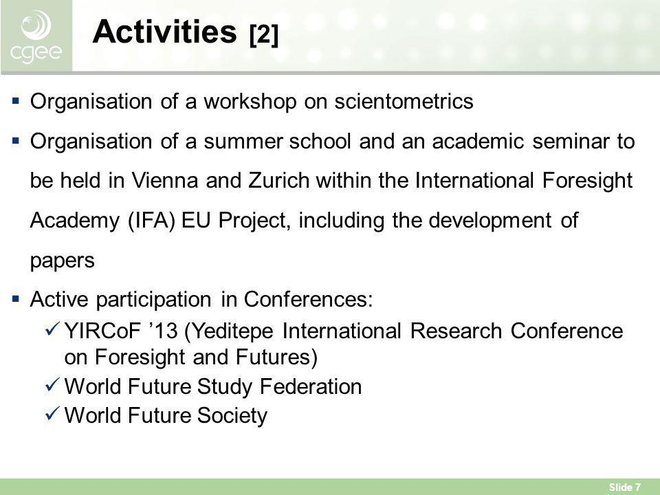 Activities [2] Organisation of a workshop on scientometrics